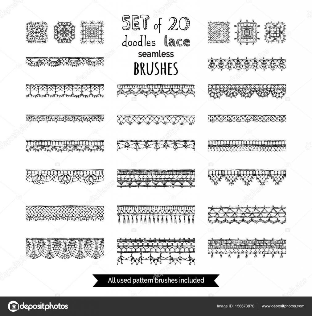 conjunto de encaje pinceles — Vector de stock © Maljuk #156673870