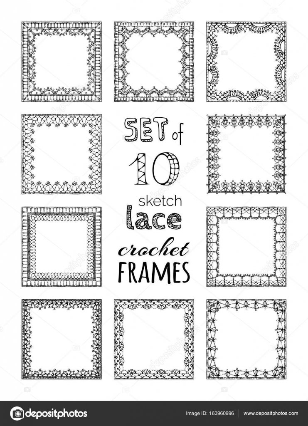 Conjunto de vectores de Marcos cuadrados 10 de encaje crochet ...