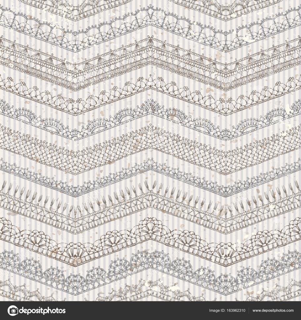Vector vintage de patrones sin fisuras de los bordes de encaje de ...
