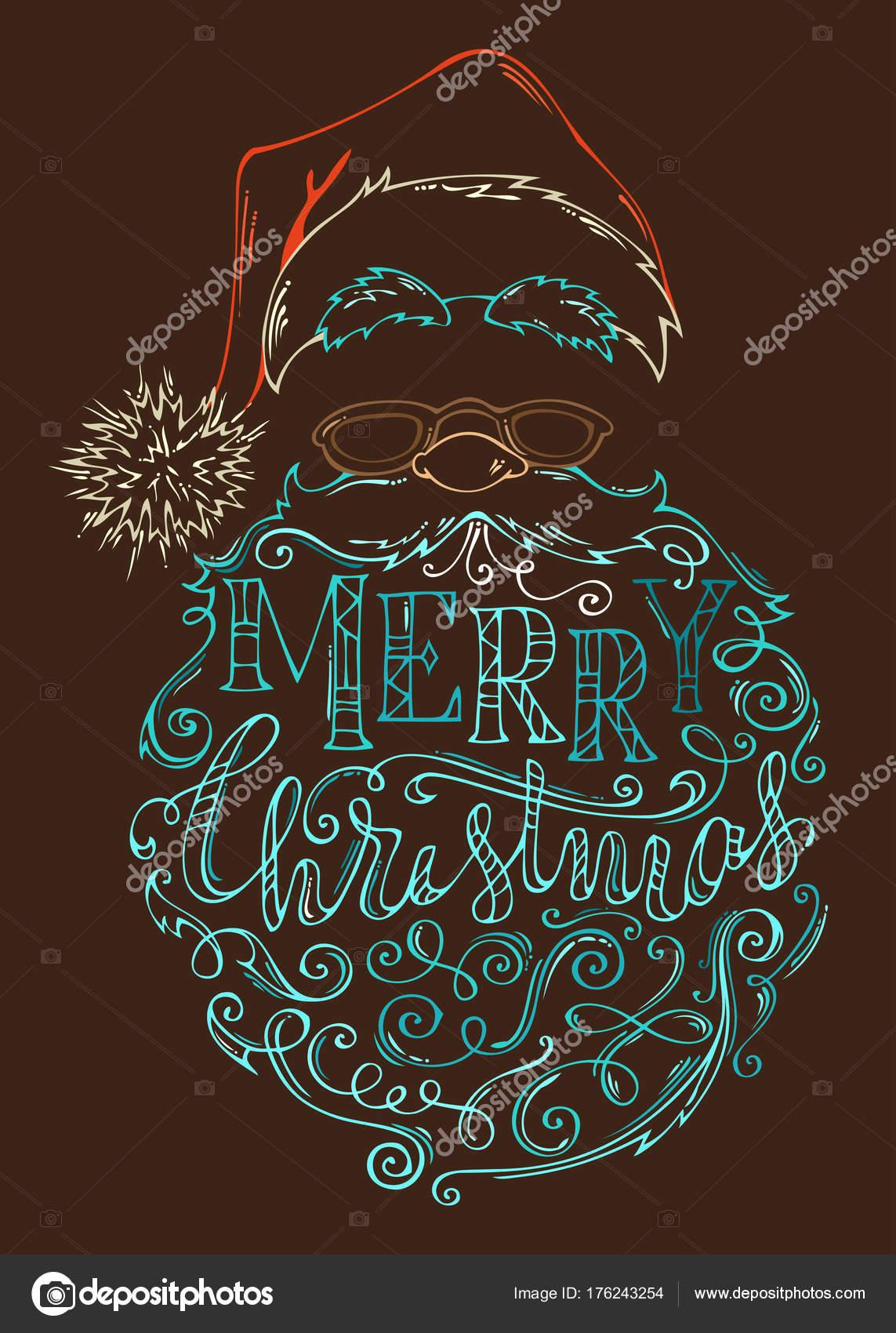 Disegnato a mano colorato contorno del viso di Babbo Natale su fondo  marrone scuro. Cappello con pompon ec524ced28d8