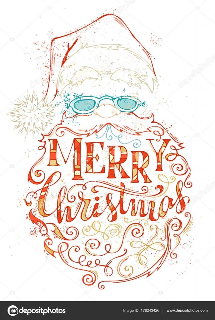 Disegnato a mano colorato contorno del viso di Babbo Natale su priorità  bassa bianca. Cappello con pompon 6e8f8ac420bd