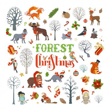 Vector set of winter trees and forest animals in Santa hat and scarf. Moose, bear, fox, wolf, deer, owl, hare, squirrel, raccoon, hedgehog, birds, gift boxes and Christmas baubles. stock vector