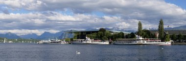 Switzerland, Lucerne, June 2017, Lucerne with lake, steamboats, the alps in the background