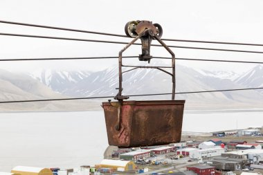 Old cable car for coal transportation in Longyearbyen, Spitsbergen, Norway