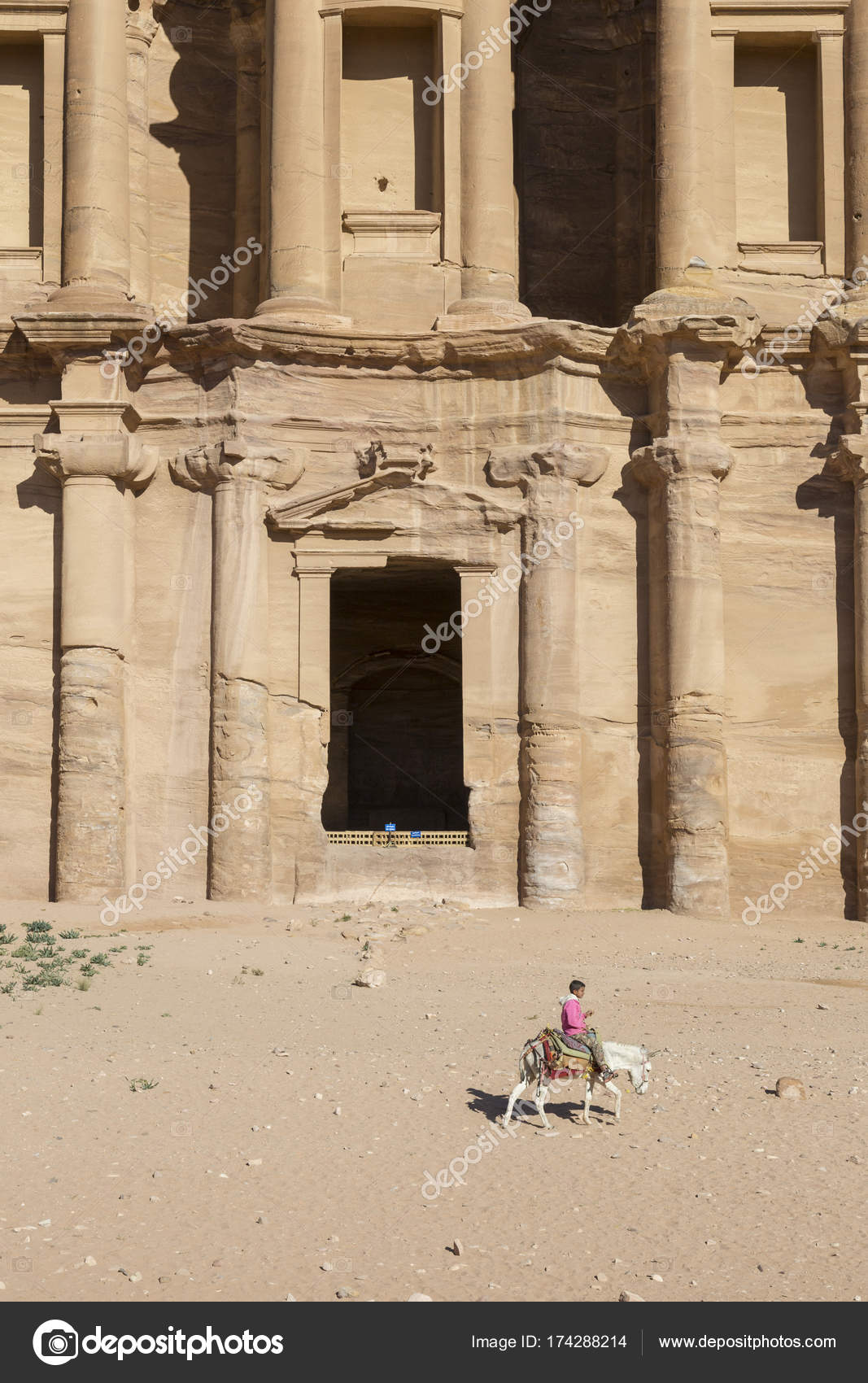 huge discount 11ee1 21b8c Ad Deir, Jordan December 25th 2015  Girl rides a donkey in front of the  Monastery Al Deir in Petra, Jordan– Stock Editorial Photography