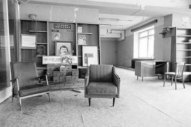 PYRAMIDEN, NORWAY - June 25, 2015: Inside of Library at the abandoned Russian arctic settlement Pyramiden, Norway.