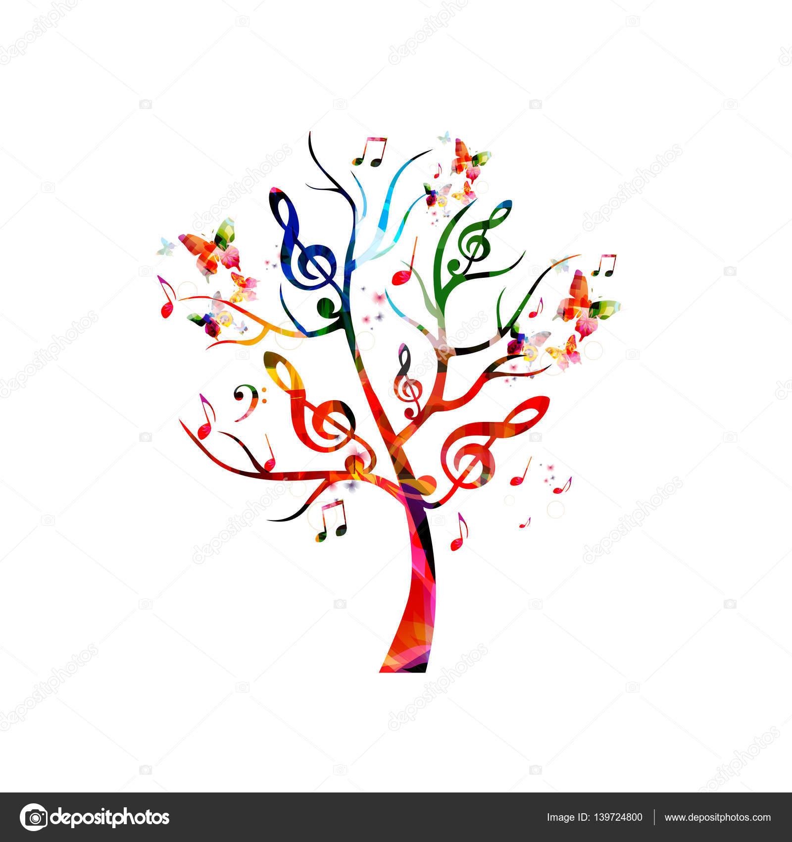 arbre avec des notes de musique et papillons image vector music notes png vector music notes background