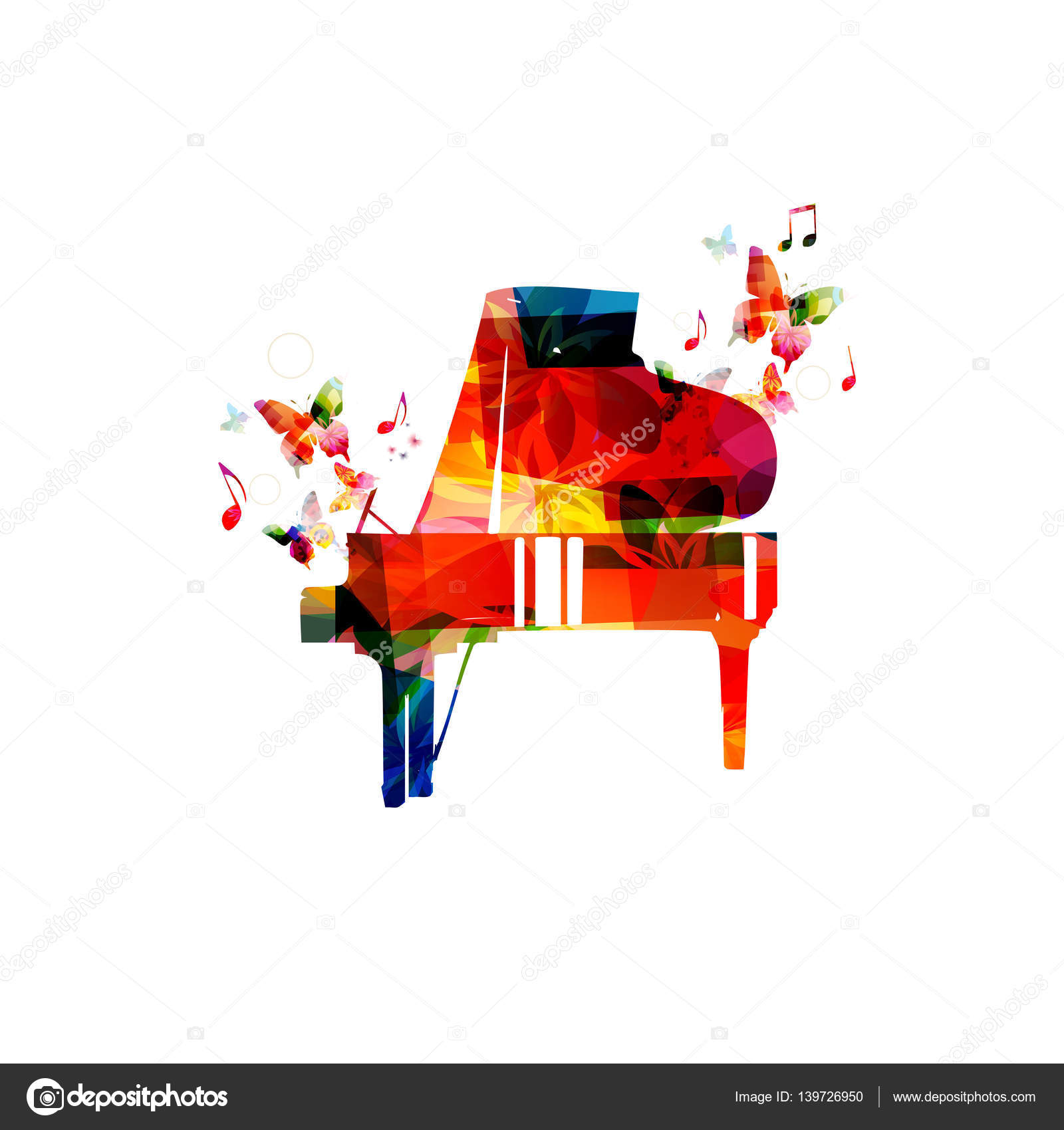 Colorful Piano With Music Notes Vector Illustration Background Instrument Poster Design G Clef For Event