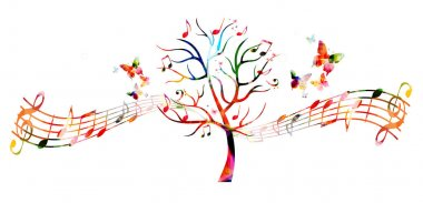 Tree with music notes and butterflies