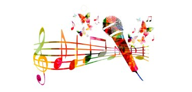 Colorful microphone and music notes