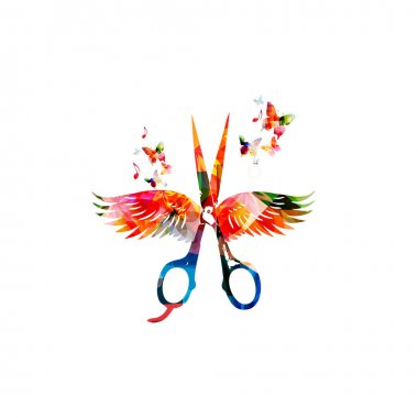 Colorful scissors with wings
