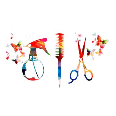 Colorful comb, scissors and sprayer