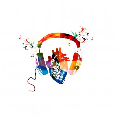 Colorful headphones with human heart