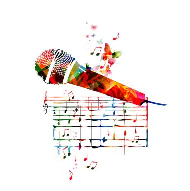 Colorful microphone with butterflies