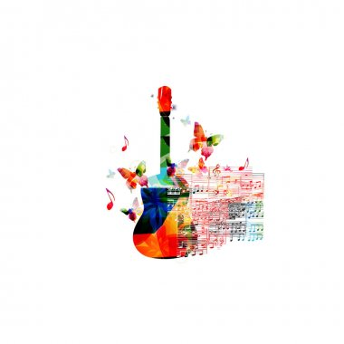 Colorful guitar with music notes