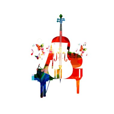Colorful music concept piano and violoncello