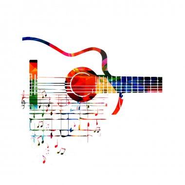 Colorful guitar with notes