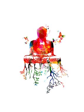 Colorful Gautama Buddha sitting in meditation