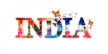 Colorful India typographic illustration