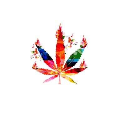 Colorful marijuana leaf with fire flames