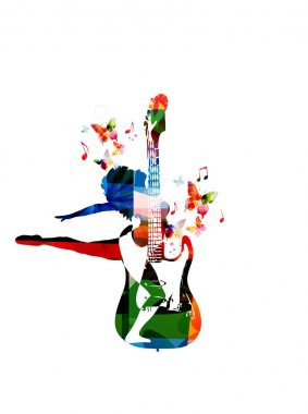Colorful guitar with dancing woman