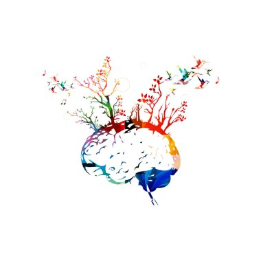 Colorful human brain with trees