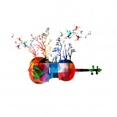Colorful violoncello and hummingbirds