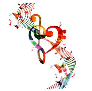 Heart and music notes illustration