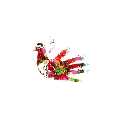 Colorful dove illustration with human hand