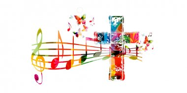 Colorful christian cross with music