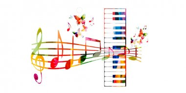 Colorful piano keys with music staff
