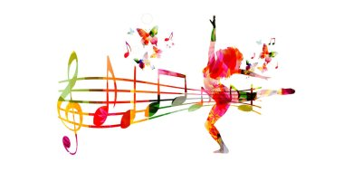 Colorful notes with woman silhouette dancing