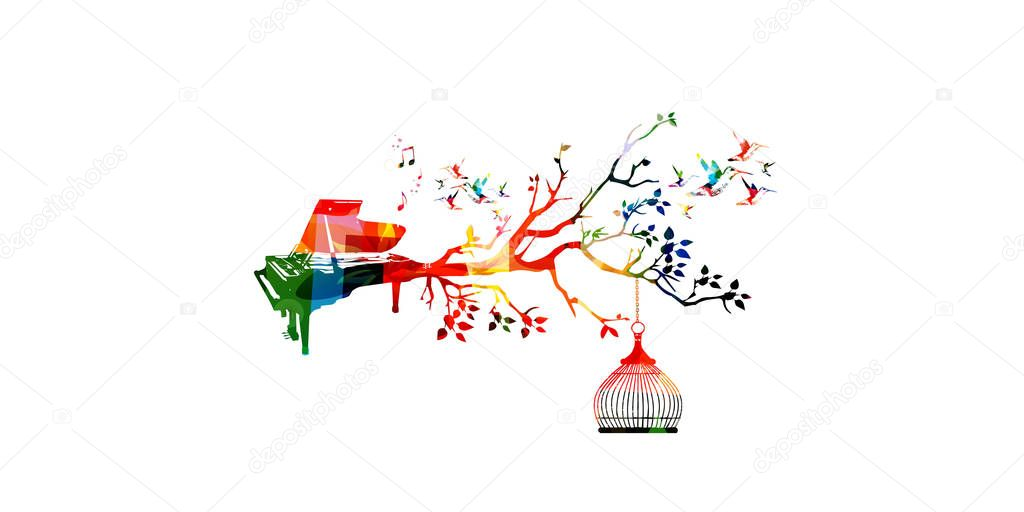 Colorful instrument background with hummingbirds