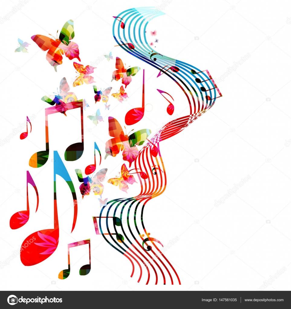 Colores de fondo con notas musicales — Vector de stock