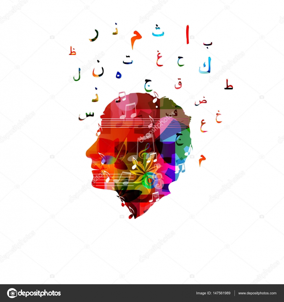 Human head with arabic symbols stock vector abstract412 147561989 colorful human head with arabic islamic calligraphy symbols vector illustration vector by abstract412 buycottarizona Gallery