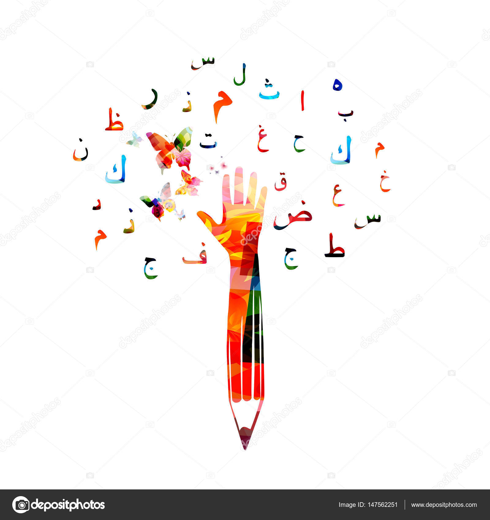 Pencil with human hand and arabic symbols stock vector colorful pencil with human hand and arabic islamic calligraphy symbols vector illustration vector by abstract412 buycottarizona Gallery