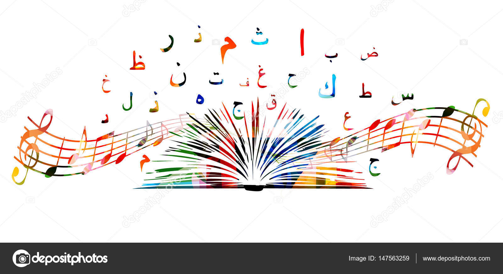 Poster design notes -  Music Notes And Arabic Islamic Calligraphy Symbols Isolated Arabic Alphabet Text With Book Background Vector Illustration Design For Poster Brochure