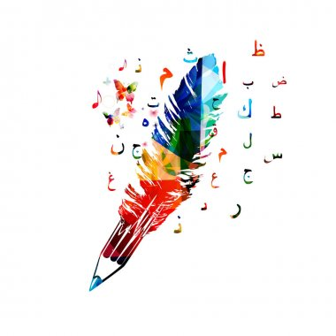 Colorful pencil and feather