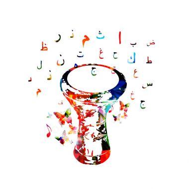 darbuka with Arabic calligraphy symbols