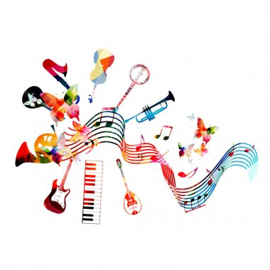 Colorful musical instruments background, vector illustration clip art vector