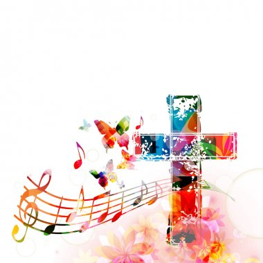 Colorful cross with music notes