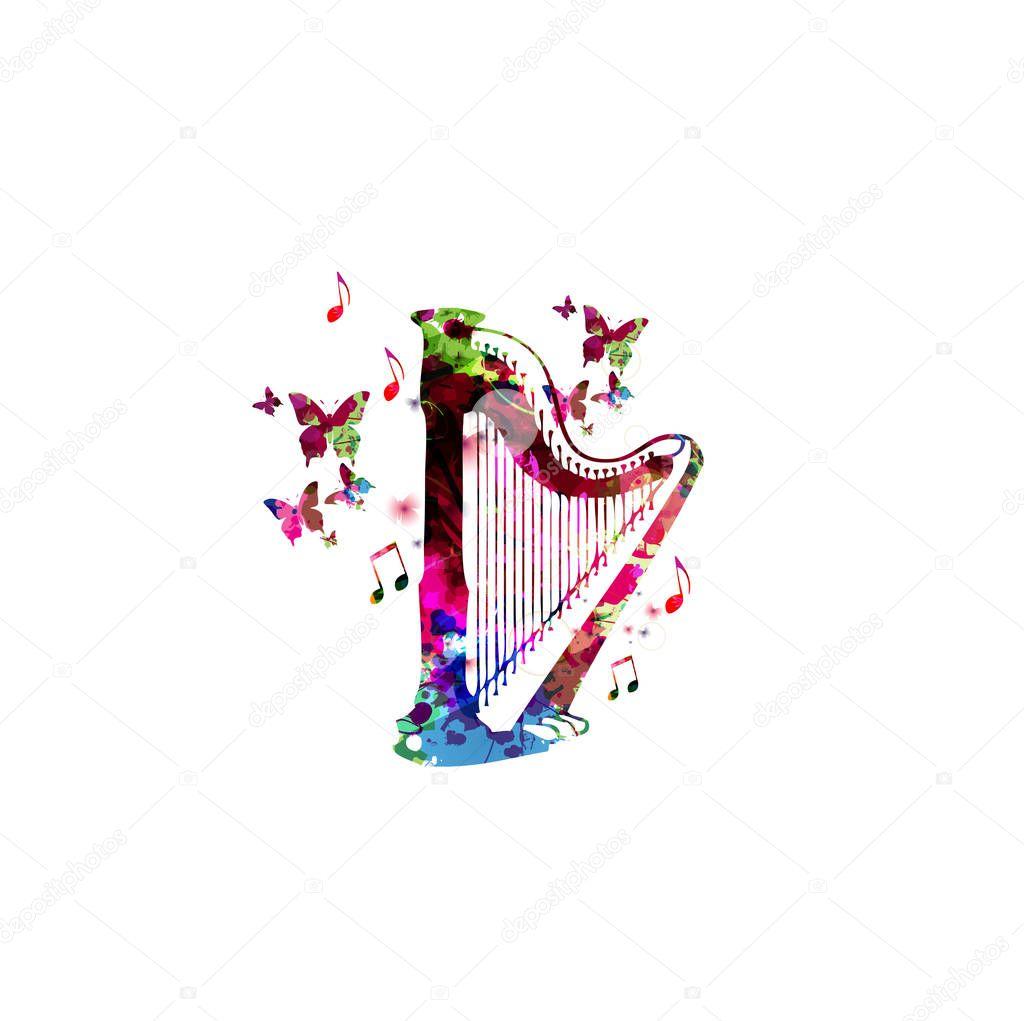concert harp with butterflies