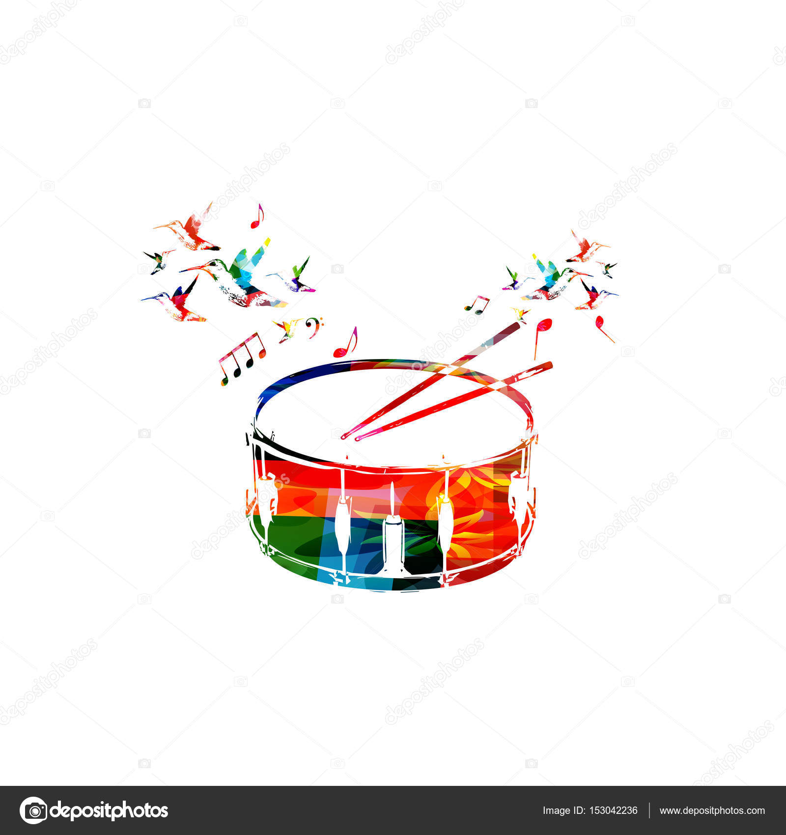 colorful drum with music notes stock vector abstract412 153042236 rh depositphotos com Singing Clip Art Singing Clip Art