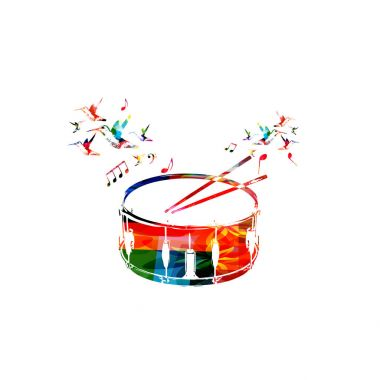Colorful drum with music notes