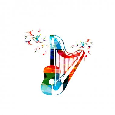 Colorful euphonium with music notes