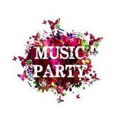 barevné hudební večírek nápis