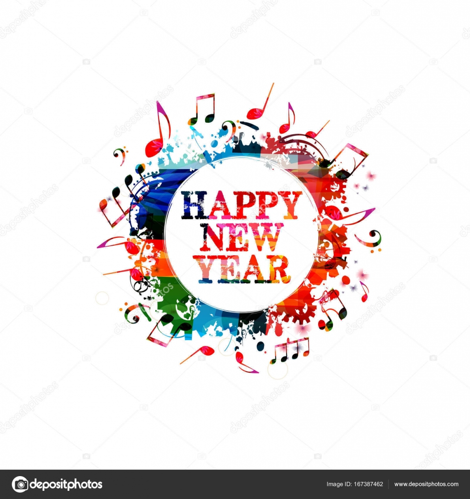 happy new year greeting card with musical notes vector vector by abstract412