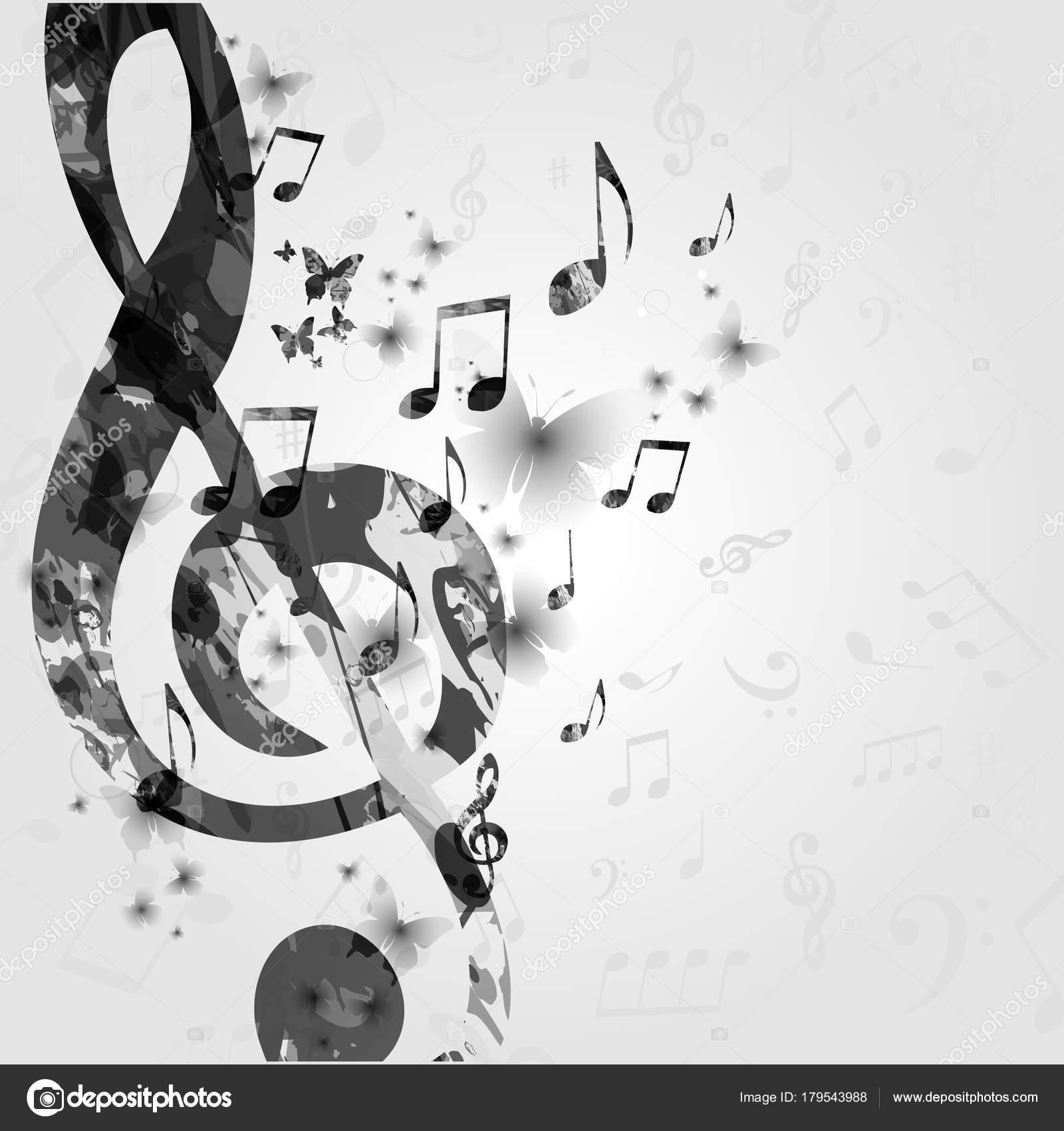 Einzigartig Schwarz Weiß Musik Poster Mit Noten Musik Designelemente Für Karte  WN68