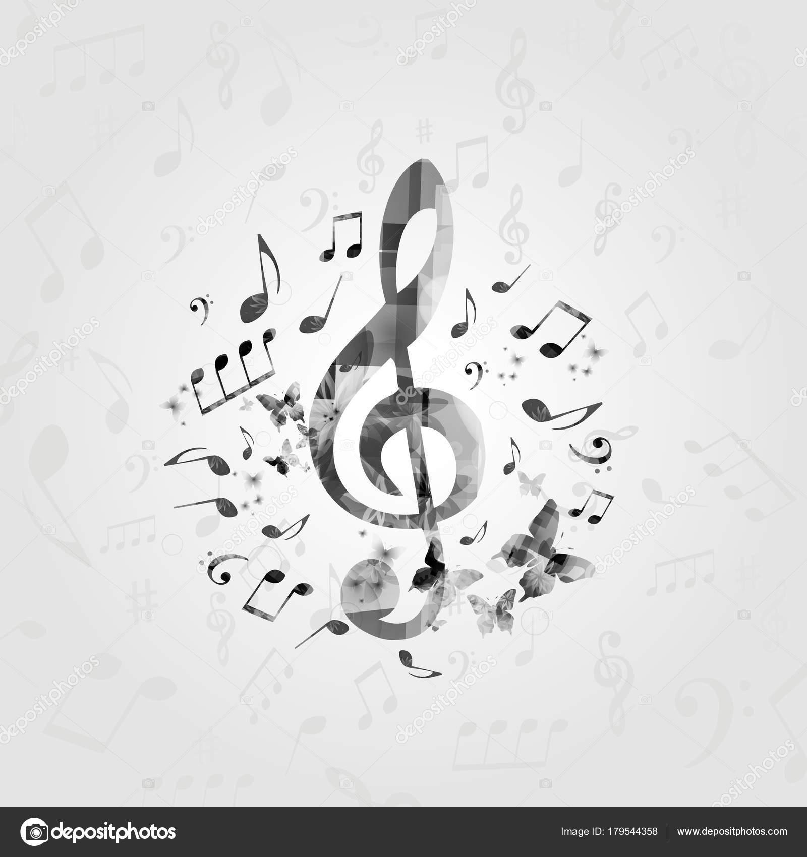 Beliebt Schwarz Weiß Musik Poster Mit Noten Musik Designelemente Für Karte  HQ16