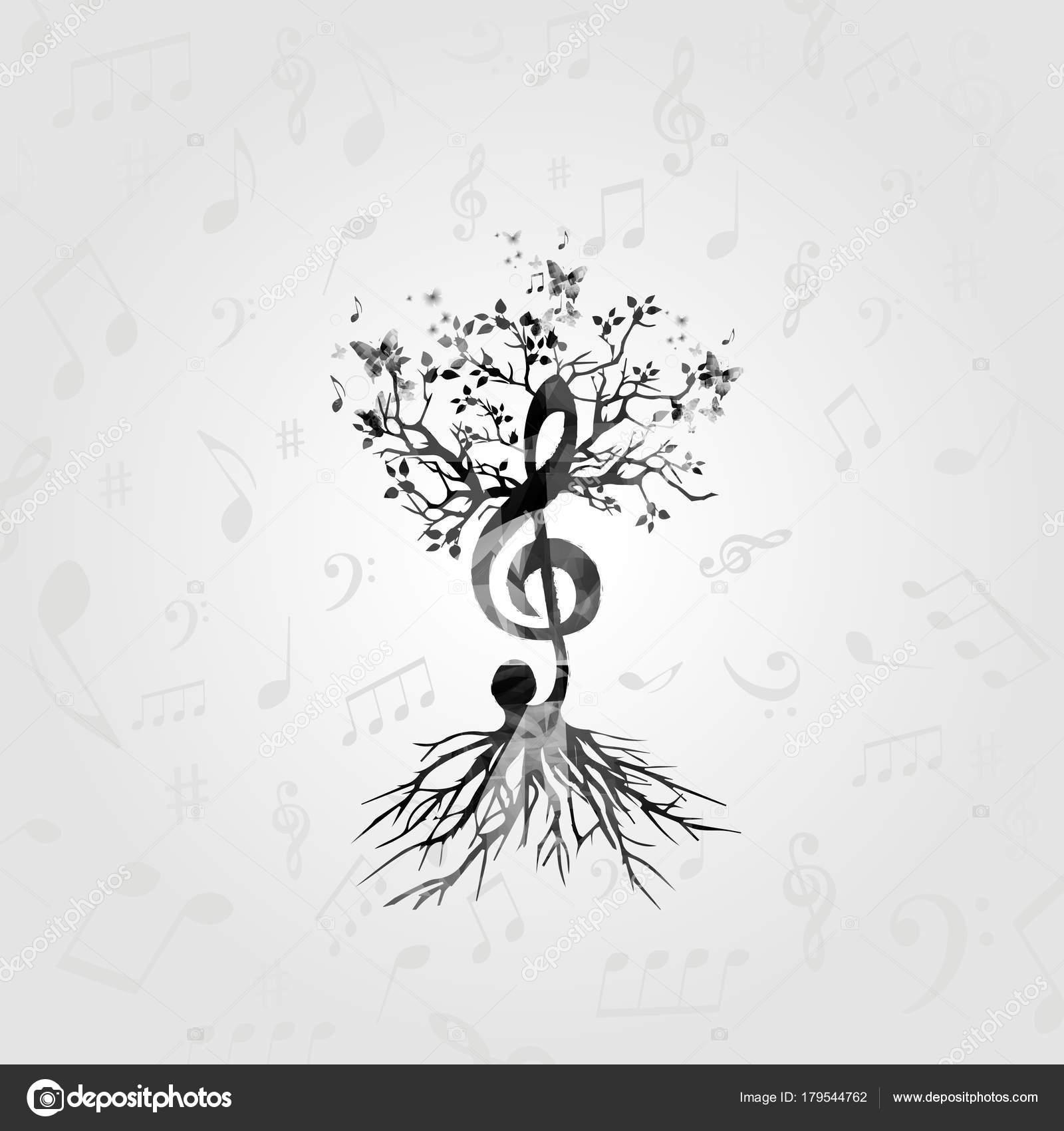Arbre Musique Noir Blanc Avec Des Notes Musique Symboles Musicaux